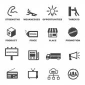 Marketing and advertising icons — Stock Vector