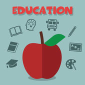 Red apple with education icons — Stock Vector