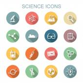Science long shadow icons — Stock Vector