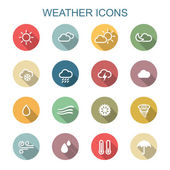 Weather long shadow icons — Stock Vector