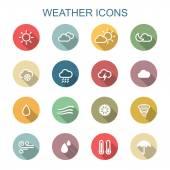 Weather long shadow icons — Stok Vektör