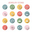 Jewelry long shadow icons — Stock Vector #55552039