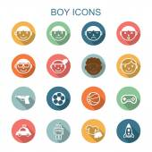Boy long shadow icons — Stock Vector