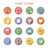 Game long shadow icons — Stock Vector