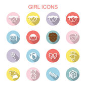 Girl long shadow icons — Stock Vector