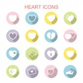 Heart long shadow icons — Wektor stockowy