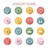 Jewelry long shadow icons — Stock Vector