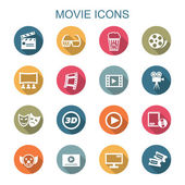 Movie long shadow icons — Stock Vector