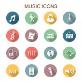 Music long shadow icons — Stock Vector