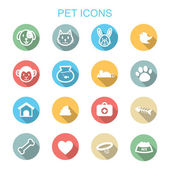 Pet long shadow icons — Stockvektor