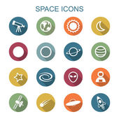 Space long shadow icons — Stock Vector