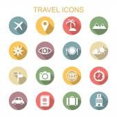 Travel long shadow icons — Stock Vector