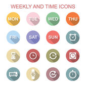 Weekly and time long shadow icons — ストックベクタ