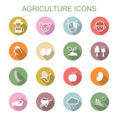 Agriculture long shadow icons — Vector de stock