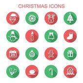 Christmas long shadow icons — Stock Vector