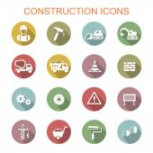 Construction long shadow icons — Stock Vector