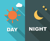 Day and night long shadow flat — Stock Vector
