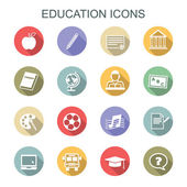 Education long shadow icons — Stock Vector