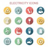 Electricity long shadow icons — Stock Vector