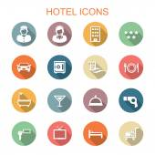 Hotel long shadow icons — Stock Vector
