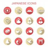 Japanese long shadow icons — Stock Vector