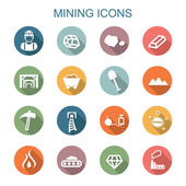 Mining long shadow icons — Stock Vector