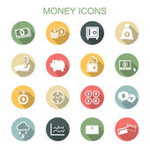 Money long shadow icons — Stock Vector