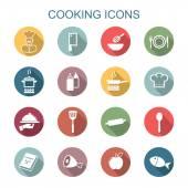 Cooking long shadow icons — Stock vektor