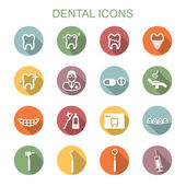 Dental long shadow icons — Stock Vector