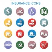 Insurance long shadow icons — Stock Vector
