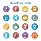 Beverage long shadow icons — Stock Vector