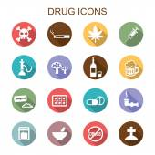 Drug long shadow icons — Stok Vektör