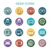 Geek long shadow icons — Stock Vector