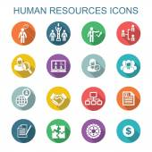 Human resources long shadow icons — Stock Vector