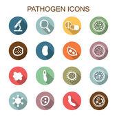 Pathogen long shadow icons — Stock Vector