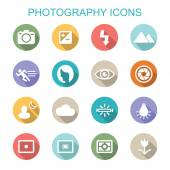 Photography long shadow icons — Stock Vector