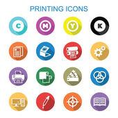 Printing long shadow icons — Stock Vector