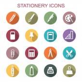 Stationery long shadow icons — 图库矢量图片