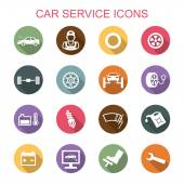 Car service long shadow icons — Stock Vector