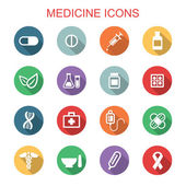 Medicine long shadow icons — Stok Vektör