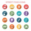 Street food long shadow icons — Stock Vector #59500679