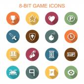 8-bit game long shadow icons — Stock Vector
