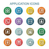 Application long shadow icons — Stock Vector
