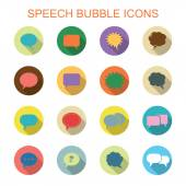 Colorful speech bubble long shadow icons — Stock Vector