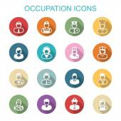 Occupation long shadow icons — Stock Vector