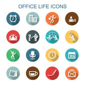 Office life long shadow icons — Vetor de Stock