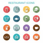 Restaurant long shadow icons — Stock Vector