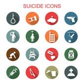Suicide long shadow icons — Stock Vector