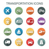 Transportation long shadow icons — Stock Vector