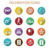 Celebration long shadow icons — Stock Vector